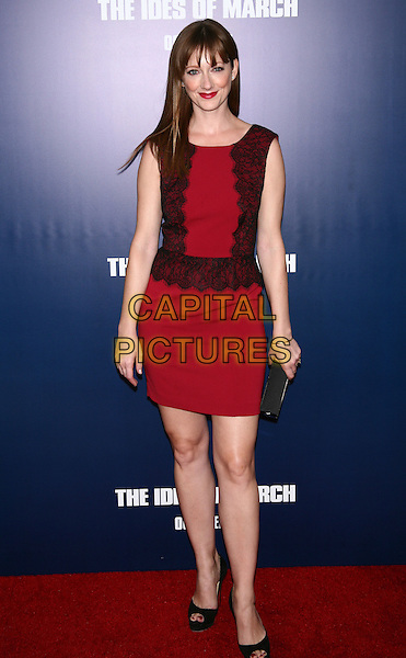"Judy Greer.The New York Premiere of ""The Ides of March"" at the Ziegfeld Theater, New York, NY, USA..October 5th, 2011.full length black lace sleeveless red pink dress.CAP/LNC/TOM.©TOM/LNC/Capital Pictures."