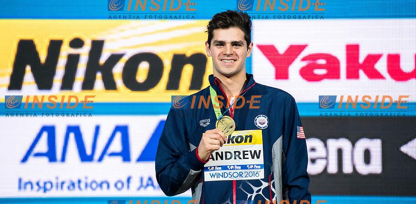 ANDREW Michael USA Gold Medal<br /> Men's 100m Individual Medley<br /> 13th Fina World Swimming Championships 25m <br /> Windsor  Dec. 9th, 2016 - Day04 Finals<br /> WFCU Centre - Windsor Ontario Canada CAN <br /> 20161209 WFCU Centre - Windsor Ontario Canada CAN <br /> Photo &copy; Giorgio Scala/Deepbluemedia/Insidefoto