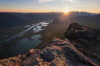 Sunset over Rapadalen from summit of Skierfe, Sarek National Park, Lapland, Sweden