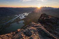 Sunset over Rapadalen from summit of Skierfe, Sarek National Park, Lapland, Sweden