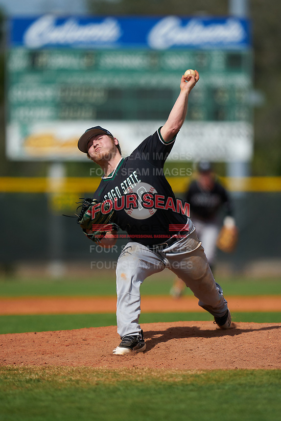 Chicago State Cougars pitcher Vinnie Venturi (18) during a game against the Indiana State Sycamores on February 23, 2020 at North Charlotte Regional Park in Port Charlotte, Florida.  Chicago State defeated Indiana State 3-0.  (Mike Janes/Four Seam Images)