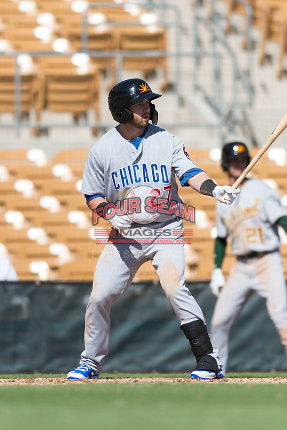 Mesa Solar Sox right fielder Trent Giambrone (27), of the Chicago Cubs organization, at bat during an Arizona Fall League game against the Glendale Desert Dogs at Camelback Ranch on October 15, 2018 in Glendale, Arizona. Mesa defeated Glendale 8-0. (Zachary Lucy/Four Seam Images)