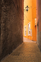 Narrow alleys and golden appearing cobblestones are plentiful in Rovinj, Croatia.