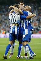 RCD Espanyol's Luis Garcia, Raul Tamudo and Ivan de la Pena celebrate after scoring during Spanish King's Cup final match between RCD Espanyol and Real Zaragoza at Santiago Bernabeu Stadium. Wednesday, April 12, 2006. (B.Echavarri / Alterphotos / Insidefotopress)