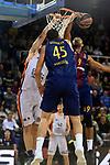 Turkish Airlines Euroleague 2017/2018.<br /> Regular Season - Round 8.<br /> FC Barcelona Lassa vs Valencia Basket: 89-71.<br /> Fernando San Emeterio, Adrien Moerman &amp; Adam Hanga.