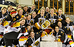 09.01.2020, BLZ Arena, Füssen / Fuessen, GER, IIHF Ice Hockey U18 Women's World Championship DIV I Group A, <br /> Siegerehrung, <br /> im Bild das deutsche Team feiert seinen Erfolg, Lilli Welcke (GER, #23) mit Pokal, eingerahmt von Fine Raschke (GER, #19) und Luisa Welcke (GER, #13)<br /> <br /> Foto © nordphoto / Hafner