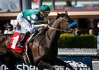 April 7, 2012.Lady of Shamrock and Mike Smith win the Providencia Stakes at Santa Anita Park in Arcadia, CA.