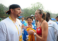 Aug. 10, 2008; Beijing, CHINA; Kerri Walsh (right) talks with basketball player Jason Kidd after the match against Japan during the womens beach volleyball at the Chaoyang Park Beach Volleyball Ground in the 2008 Beijing Olympic Games. The United States won the match. Mandatory Credit: Mark J. Rebilas-