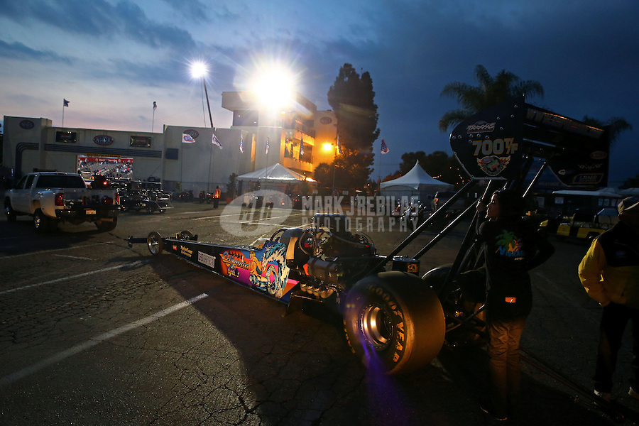 Feb 7, 2014; Pomona, CA, USA; NHRA top fuel dragster driver Steve Chrisman during qualifying for the Winternationals at Auto Club Raceway at Pomona. Mandatory Credit: Mark J. Rebilas-