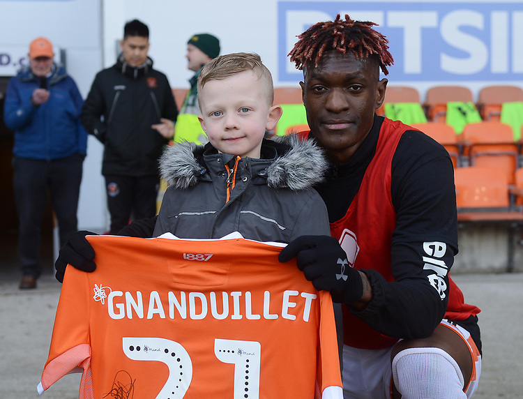 Blackpool's Armand Gnanduillet presents a shirt<br /> <br /> Photographer Kevin Barnes/CameraSport<br /> <br /> The EFL Sky Bet League One - Blackpool v Walsall - Saturday 9th February 2019 - Bloomfield Road - Blackpool<br /> <br /> World Copyright &copy; 2019 CameraSport. All rights reserved. 43 Linden Ave. Countesthorpe. Leicester. England. LE8 5PG - Tel: +44 (0) 116 277 4147 - admin@camerasport.com - www.camerasport.com