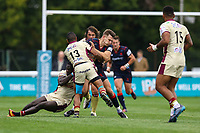 Matt Williams of London Scottish is tackled by Andrew Bulumakau of Doncaster Knights during the Greene King IPA Championship match between London Scottish Football Club and Doncaster Knights at Richmond Athletic Ground, Richmond, United Kingdom on 30 September 2017. Photo by Jason Brown / PRiME Media Images.