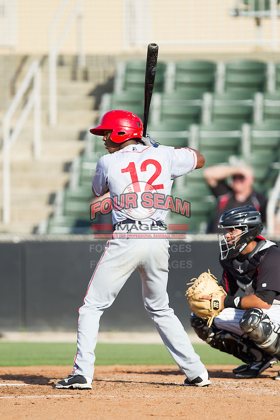 Rafael Bautista (12) of the Hagerstown Suns at bat against the Kannapolis Intimidators at CMC-Northeast Stadium on May 31, 2014 in Kannapolis, North Carolina.  The Intimidators defeated the Suns 3-2 in game one of a double-header.  (Brian Westerholt/Four Seam Images)