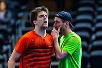 Alphen aan den Rijn, Netherlands, December 15, 2018, Tennispark Nieuwe Sloot, Ned. Loterij NK Tennis,  Semifinal men's doubles: Sander Arends (L) and Matwe Middelkoop  (NED)<br /> Photo: Tennisimages/Henk Koster