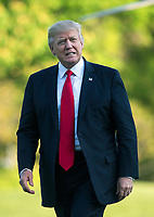 United States President Donald Trump returns to the White House after a day trip to Kenosha, Wisconsin where he visited Snap-on tools, in Washington, D.C. on April 18, 2017. <br /> CAP/MPI/RS<br /> &copy;RS/MPI/Capital Pictures