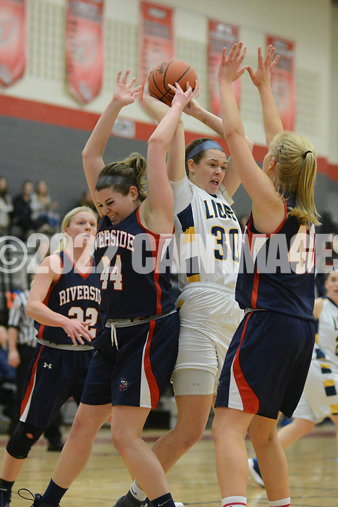 New Hope Solebury's Alana Davidson (30) fights for a rebound with Riverside's Shelby Slaboda (44) in the first quarter Saturday, March 11, 2017 at Upper Dublin High School in Ft. Washington, Pennsylvania. (Photo by William Thomas Cain)