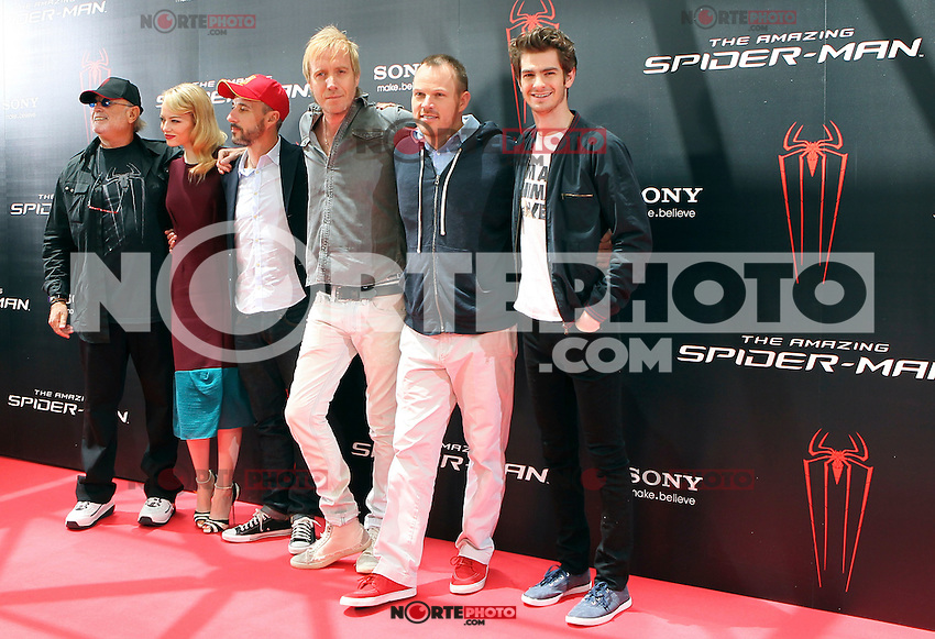 Avi Arad, Emma Stone, Matt Tolmach, Rhys Ifans, Marc Webb, Andrew Garfield - The Amazing Spider-Man - photocall in Madrid NORTEPHOTO.COM<br />