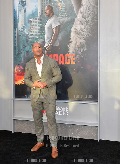 Dwayne Johnson  at the premiere for &quot;Rampage&quot; at the Microsoft Theatre, Los Angeles, USA 04 April 2018<br /> Picture: Paul Smith/Featureflash/SilverHub 0208 004 5359 sales@silverhubmedia.com