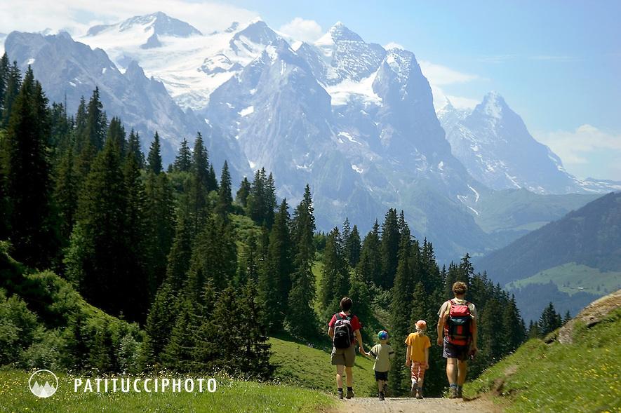 Family hiking in the Berner Oberland above Meiringen, Switzerland