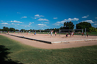 Zilker Park is a favorite place for atheletes and sports enthusiasts to play volleyball at the sand volleyball courts in Austin, Texas.