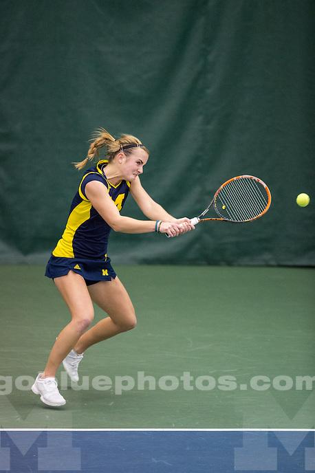 The University of Michigan women's tennis team faces Ohio State at the Varsity Tennis Center in Ann Arbor, MI on January 31, 2016.