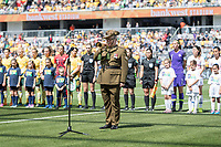9th November 2019; Bankwest Stadium, Parramatta, New South Wales, Australia; International Womens Friendly Football, Australia versus Chile; the last post is played for remembrance before kick off - Editorial Use