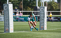 Reon Joseph of Ealing Trailfinders scores a try during the 2019/20 Pre Season Friendly match between Ealing Trailfinders and Bishop's Stortford at Castle Bar , West Ealing , England  on 24 August 2019. Photo by Alan  Stanford / PRiME Media images