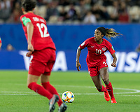 GRENOBLE, FRANCE - JUNE 15: Ashley Lawrence #10 of the Canadian National Team on the attack during a game between New Zealand and Canada at Stade des Alpes on June 15, 2019 in Grenoble, France.