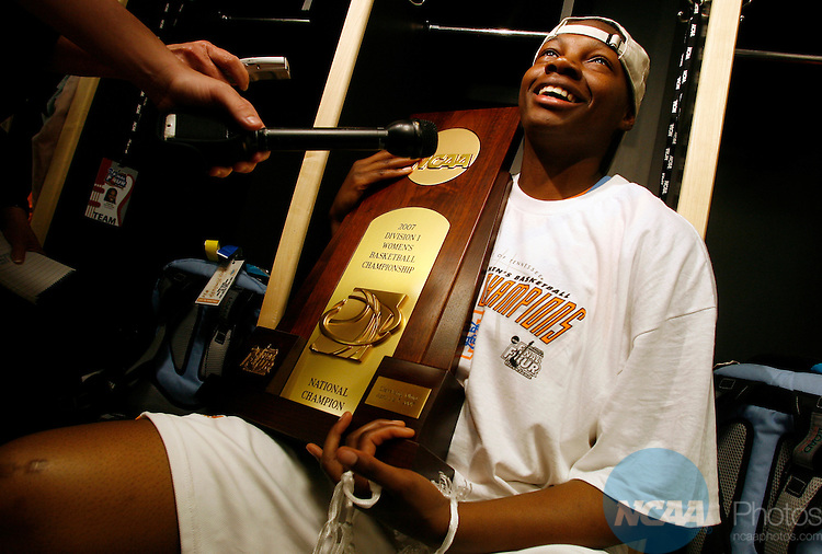 03 APR 2007:  Dominque Redding (13) of the University of Tennessee shows off the championship trophy after defeating Rutgers University during the Division I Women's Basketball Championship held at Quicken Loans Arena in Cleveland, OH.  Tennessee defeated Rutgers 59-46 for the national title.  Jamie Schwaberow/NCAA Photos