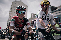 Richie Porte (AUS/BMC) &amp; Vasil Kiryienka (BLR/SKY) catching up at the start<br /> <br /> 104th Tour de France 2017<br /> Stage 7 - Troyes &rsaquo; Nuits-Saint-Georges (214km)