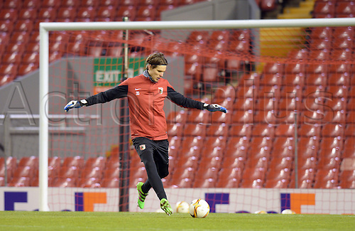 24.02.2016. Anfield, Liverpool, UK.  Augsburg's goalie Marwin Hitz in action during a training session in Anfield Stadium in Liverpool, UK, 24 February 2016. FC Augsburg and Liverpool will play in the Europa League round of 32 soccer match on 25 February 2016.