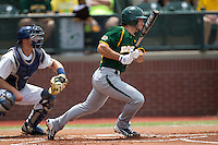 Baylor Bears outfielder Logan Vick #19 follows through on his swing during the NCAA Regional baseball game against Oral Roberts University on June 3, 2012 at Baylor Ball Park in Waco, Texas. Baylor defeated Oral Roberts 5-2. (Andrew Woolley/Four Seam Images)
