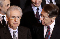 Il Presidente del Consiglio Mario Monti ascolta il Ministro degli Esteri Giulio Terzi al termine della Nona Conferenza degli Ambasciatori, alla Farnesina, Roma, 21 dicembre 2012..Italian Premier Mario Monti listens to Foreign Minister Giulio Terzi, right, at the end of the 9th Conference of Ambassadors at the Italian Foreign Ministry headquarters in Rome, 21 December 2012. .UPDATE IMAGES PRESS/Riccardo De Luca