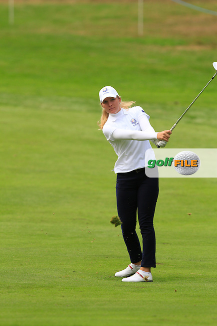 Linnea Strom (SWE) on the 2nd hole of the Mixed Fourballs during the 2014 JUNIOR RYDER CUP at the Blairgowrie Golf Club, Perthshire, Scotland. <br /> Picture:  Thos Caffrey / www.golffile.ie