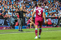 Pep Guardiola (Manager) of Manchester City during the Premier League match between West Ham United and Manchester City at the London Stadium, London, England on 10 August 2019. Photo by David Horn.