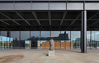The Neue Nationalgalerie or New National Gallery, a modern art museum at the Kulturforum in West Berlin, Germany. The building and its sculpture gardens were designed by Ludwig Mies van der Rohe, 1886-1969, and opened in 1968. Picture by Manuel Cohen