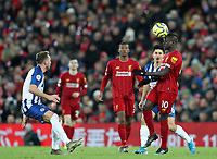 30th November 2019; Anfield, Liverpool, Merseyside, England; English Premier League Football, Liverpool versus Brighton and Hove Albion; Sadio Mane of Liverpool wins a header  - Strictly Editorial Use Only. No use with unauthorized audio, video, data, fixture lists, club/league logos or 'live' services. Online in-match use limited to 120 images, no video emulation. No use in betting, games or single club/league/player publications