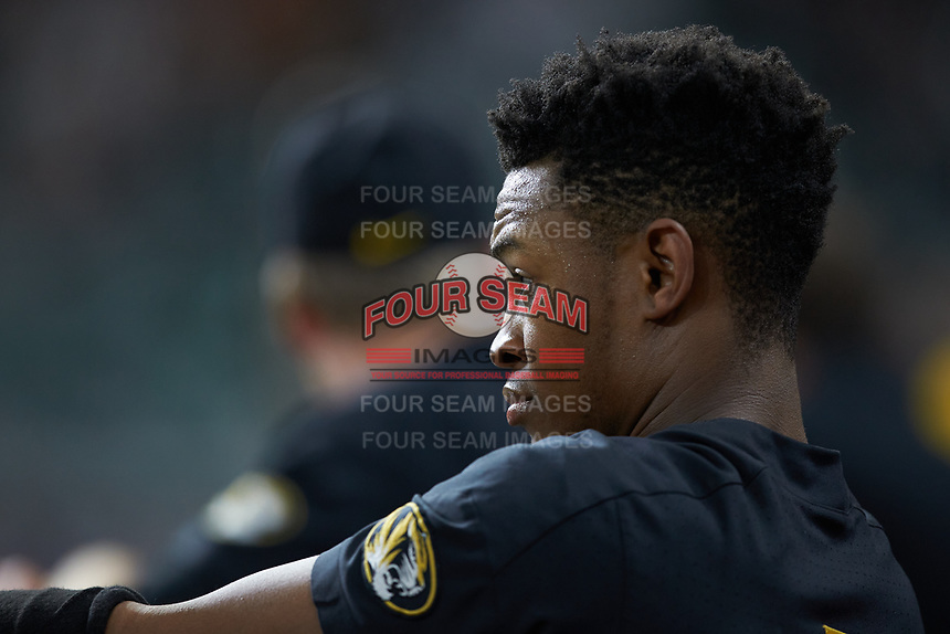 Josh Holt Jr. (1) of the Missouri Tigers watches from the dugout during the game against the Texas Longhorns in game eight of the 2020 Shriners Hospitals for Children College Classic at Minute Maid Park on March 1, 2020 in Houston, Texas. The Tigers defeated the Longhorns 9-8. (Brian Westerholt/Four Seam Images)