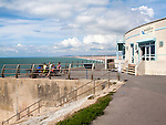 Quiddles seaside cafe restaurant overlooking the sea at Chiswell, Isle of Portland, Dorset, England, UK