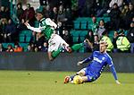 08.03.2019 Hibs v Rangers: Joe Worrall takes out Stephane Omeonga