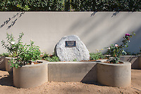 "Garden next to the Norris Hall of Chemistry. Plaque reads, ""Dr. O's Garden, dedicated to the memory of Tetsuo Otsuki, professor of chemistry, 1986-2012."" (Photo by Marc Campos, Occidental College Photographer)"