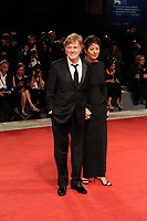 U.S. actor Robert Redford, left, poses  with his wife, german painter Sibylle Szaggars, on the red carpet for the screening of the movie 'Our Souls At Night' at the 74th Venice Film Festival, Venice Lido, September 1, 2017. <br /> UPDATE IMAGES PRESS/Marilla Sicilia<br /> <br /> *** ONLY FRANCE AND GERMANY SALES ***