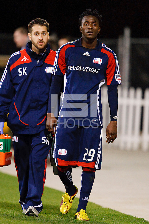 25 OCTOBER 2009:  New England Trainer Sean Kupiec and Kenny Mansally of the New England Revolution (29) during the New England Revolution at Columbus Crew MLS game in Columbus, Ohio on October 25, 2009.