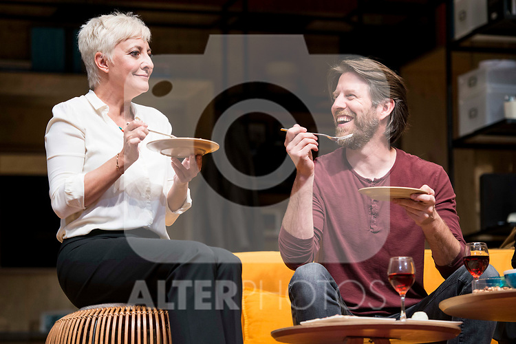 Eva Hache and Andrew Tarbet during theater play of &quot;Los vecinos de arriba&quot; at Teatro Circulo de Bellas Artes in Madrid, April 25, 2017. Spain.<br /> (ALTERPHOTOS/BorjaB.Hojas)