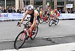 06.07.2019,  Innenstadt, Hamburg, GER, Hamburg Wasser World Triathlon, Elite Mainner, im Bild die Triathleten auf dem Fahrrad auf der Moenckebergstrasse mit Maximilian Schwetz (GER) Foto © nordphoto / Witke *** Local Caption ***