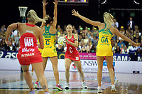 02.08.2017 Englnad's Jade Clarke in action during a netball match between Australia and England at the Brisbane Entertainment Centre in Brisbane Australia. Mandatory Photo Credit ©Michael Bradley.