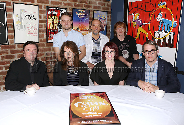 Nathan Lane, Micah Stock, Stockard Channing, F. Murray Abraham, Megan Mullally, Rupert Grint, and Matthew Broderick during the press conference for 'It's Only a Play' at Joe Allen Restaurant on August 19, 2014 in New York City.