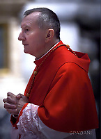 Cardinal Pietro Parolin,Pope Francis the ceremony of the Good Friday Passion of the Lord Mass in Saint Peter's Basilica at the Vatican.March 30, 2018