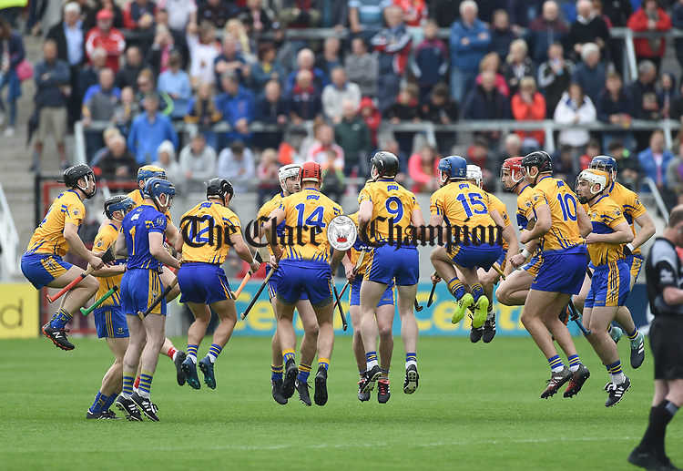 The Clare team warm up before the Munster Senior game at Pairc Ui Chaoimh. Photograph by John Kelly.