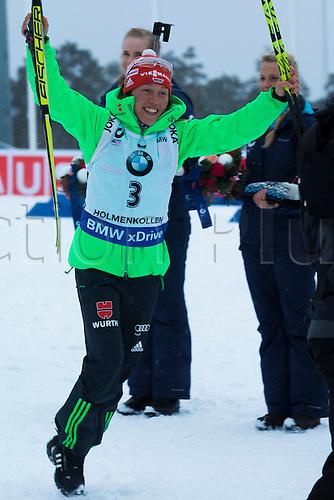 06.03.2016. Oslo Holmenkollen, Oslo, Norway. IBU Biathlon World Championships. Laura Dahlmeier of Germany reacts after winning  the ladies 10km pursuit competition during the IBU World Championships Biathlon in Holmenkollen Oslo, Norway.