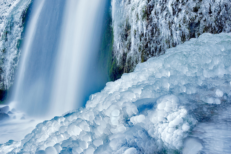 Base of Wahkeena Falls with ice. Columbia River Gorge National Scenic Area. Oregon